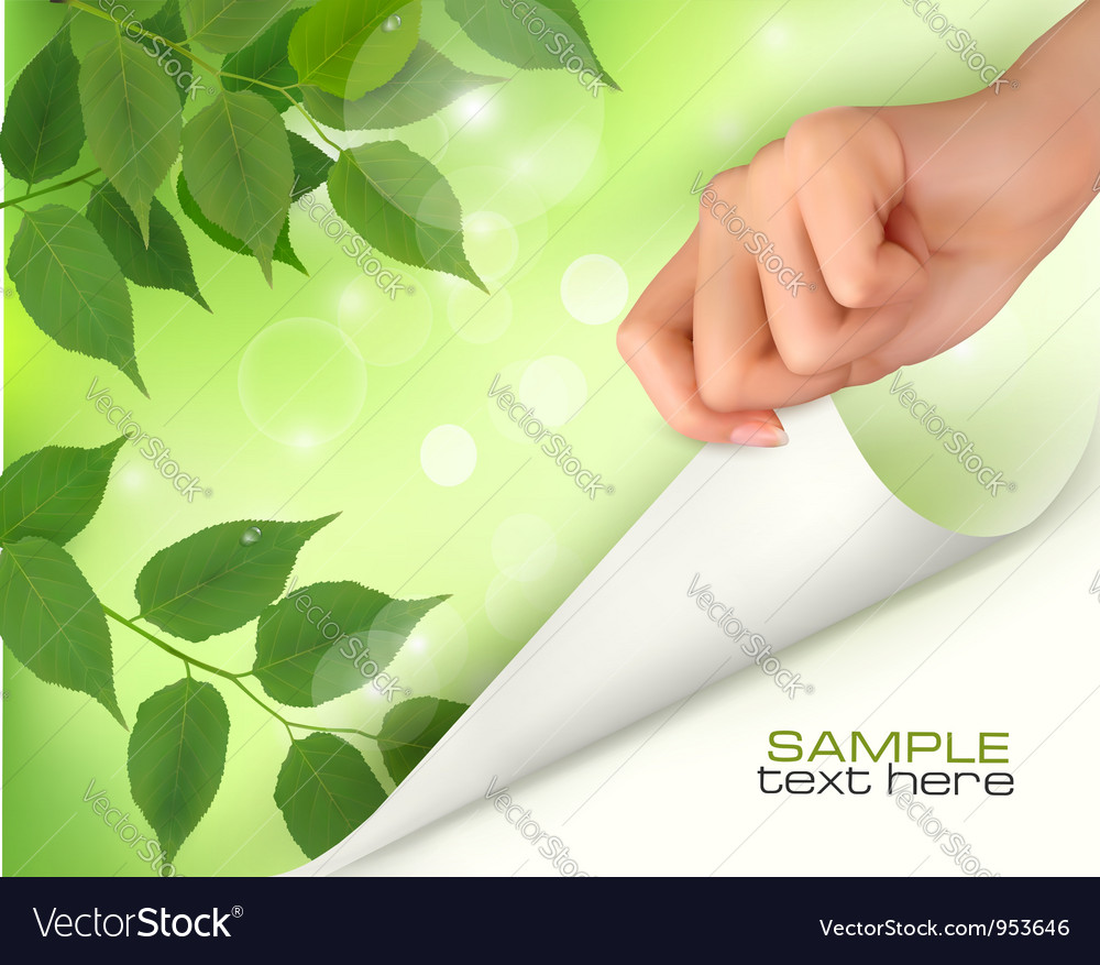 Nature green background with hand vector | Price: 3 Credit (USD $3)