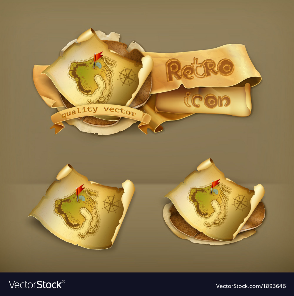 Old treasure map icon vector | Price: 1 Credit (USD $1)