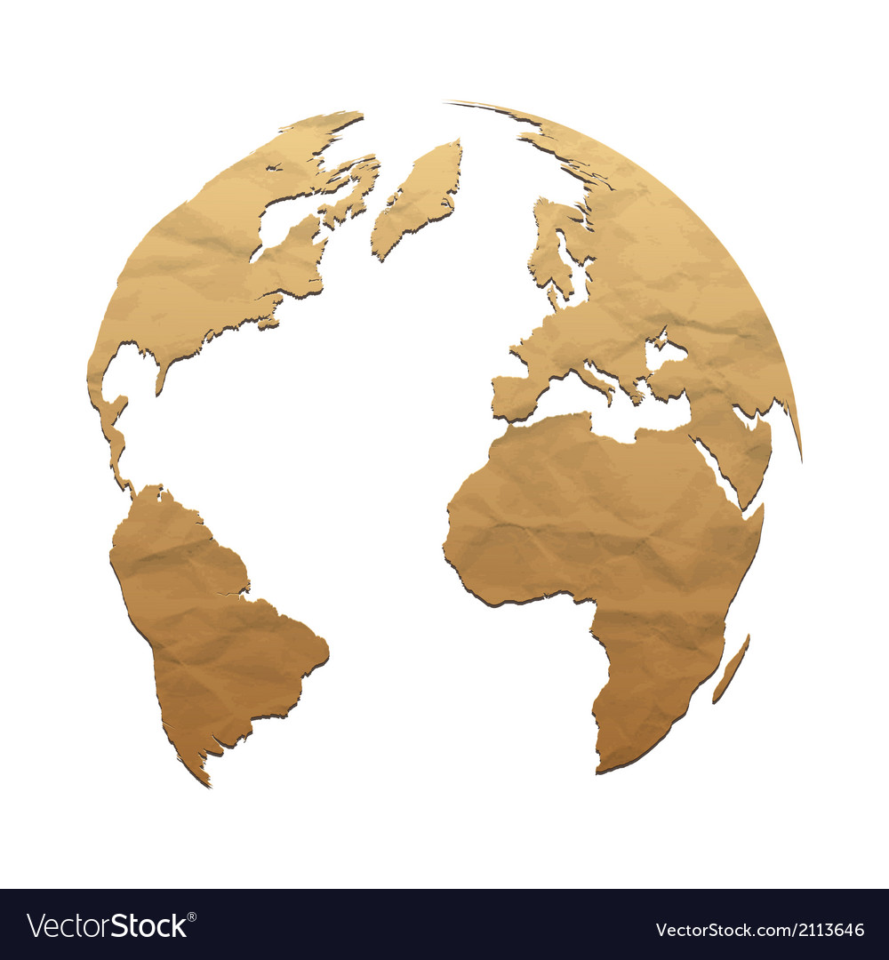 Relief world globe from texture paper vector | Price: 1 Credit (USD $1)