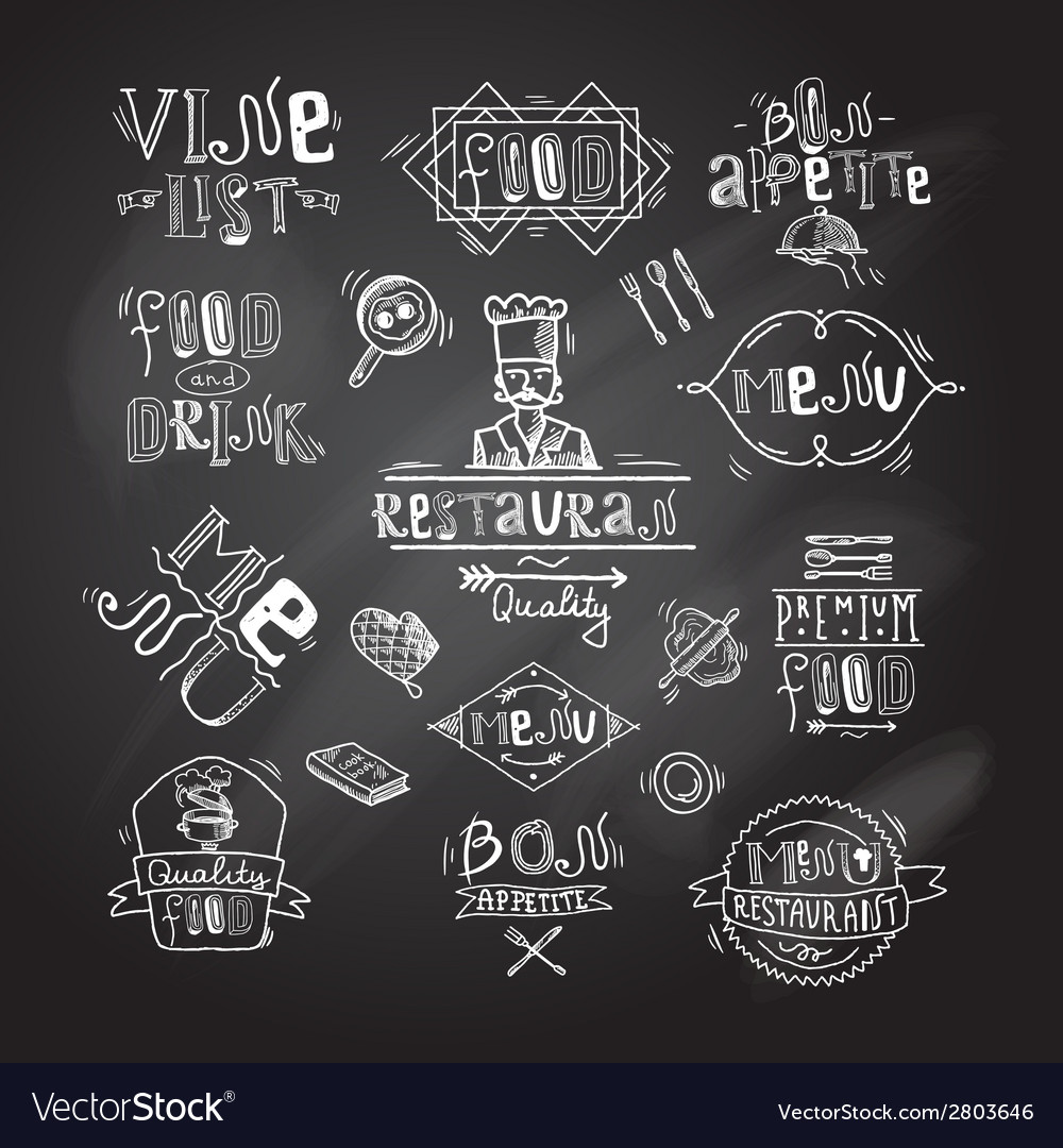 Restaurant label chalkboard vector | Price: 1 Credit (USD $1)