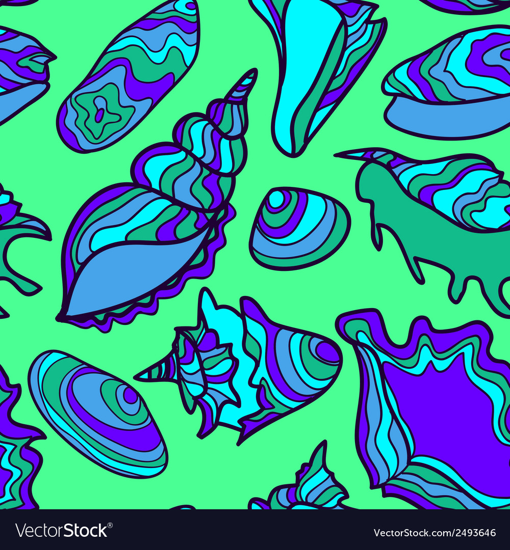 Seamless pattern with vibrant hand drawn seashells vector | Price: 1 Credit (USD $1)