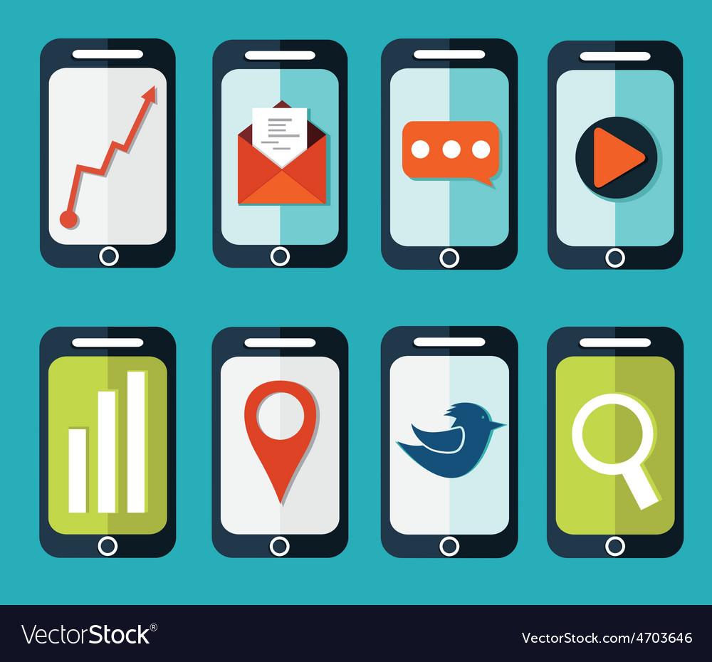 Set of flat smartphones designs vector | Price: 1 Credit (USD $1)