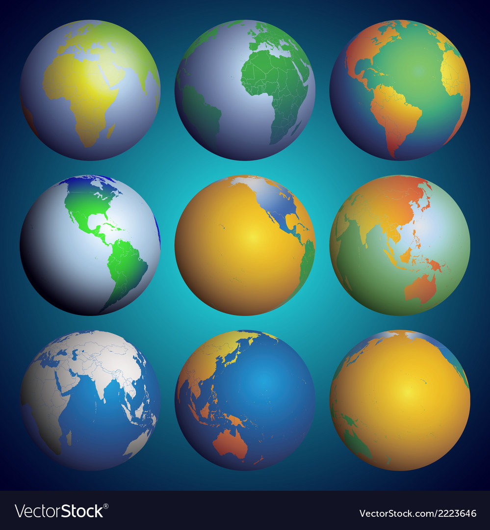 Set of globes color world map vector | Price: 1 Credit (USD $1)