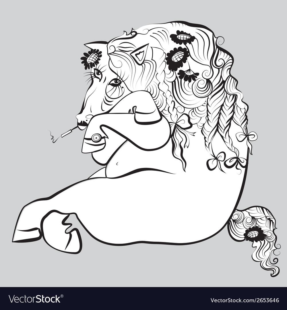 Smoking horse vector | Price: 1 Credit (USD $1)