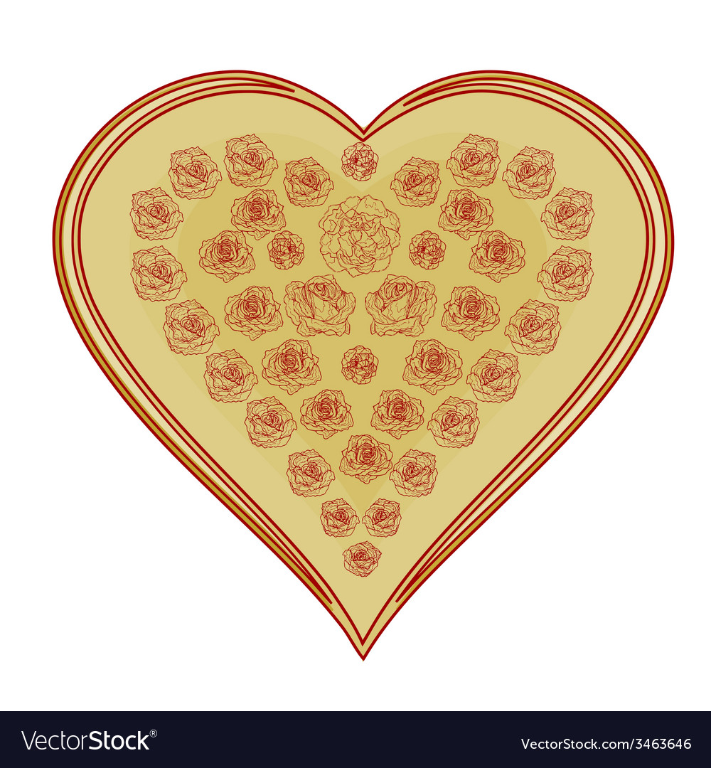 Valentines day valentine heart gold with red rose vector   Price: 1 Credit (USD $1)