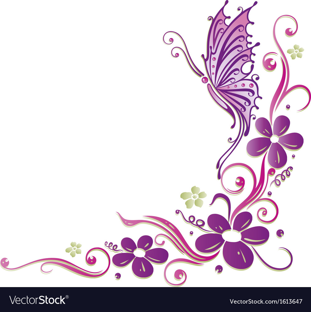 Butterfly flowers vector | Price: 1 Credit (USD $1)