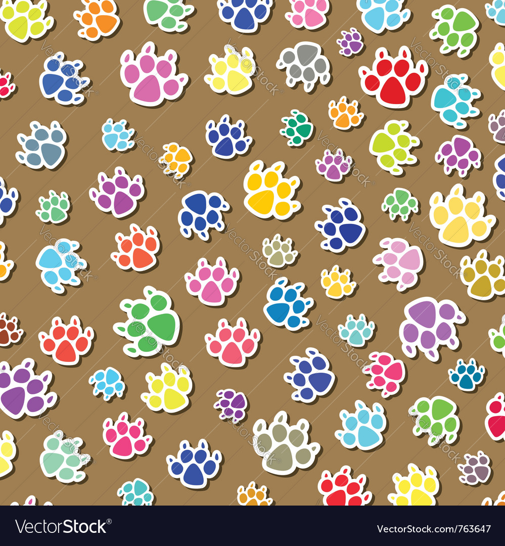 Colorful dogs foot prints vector | Price: 1 Credit (USD $1)