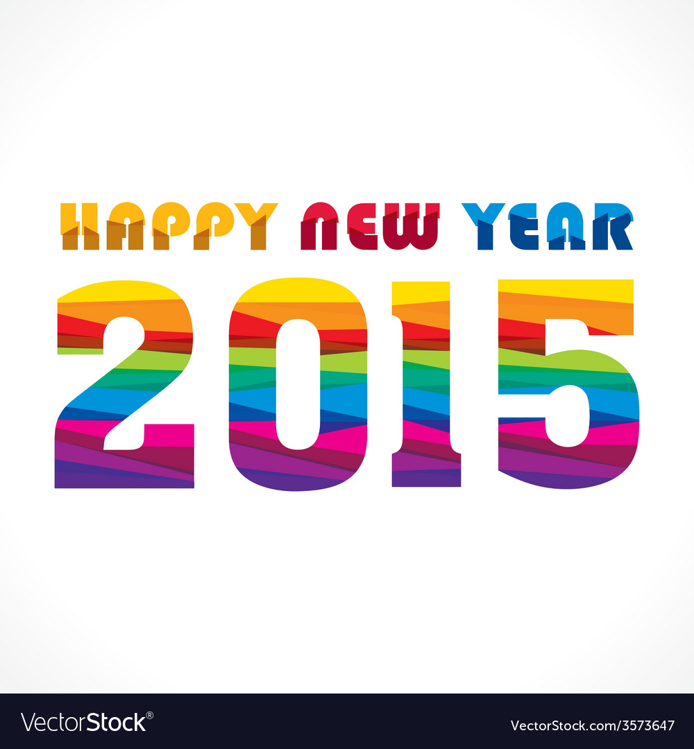 Creative colorful new year 2015 greeting design vector | Price: 1 Credit (USD $1)