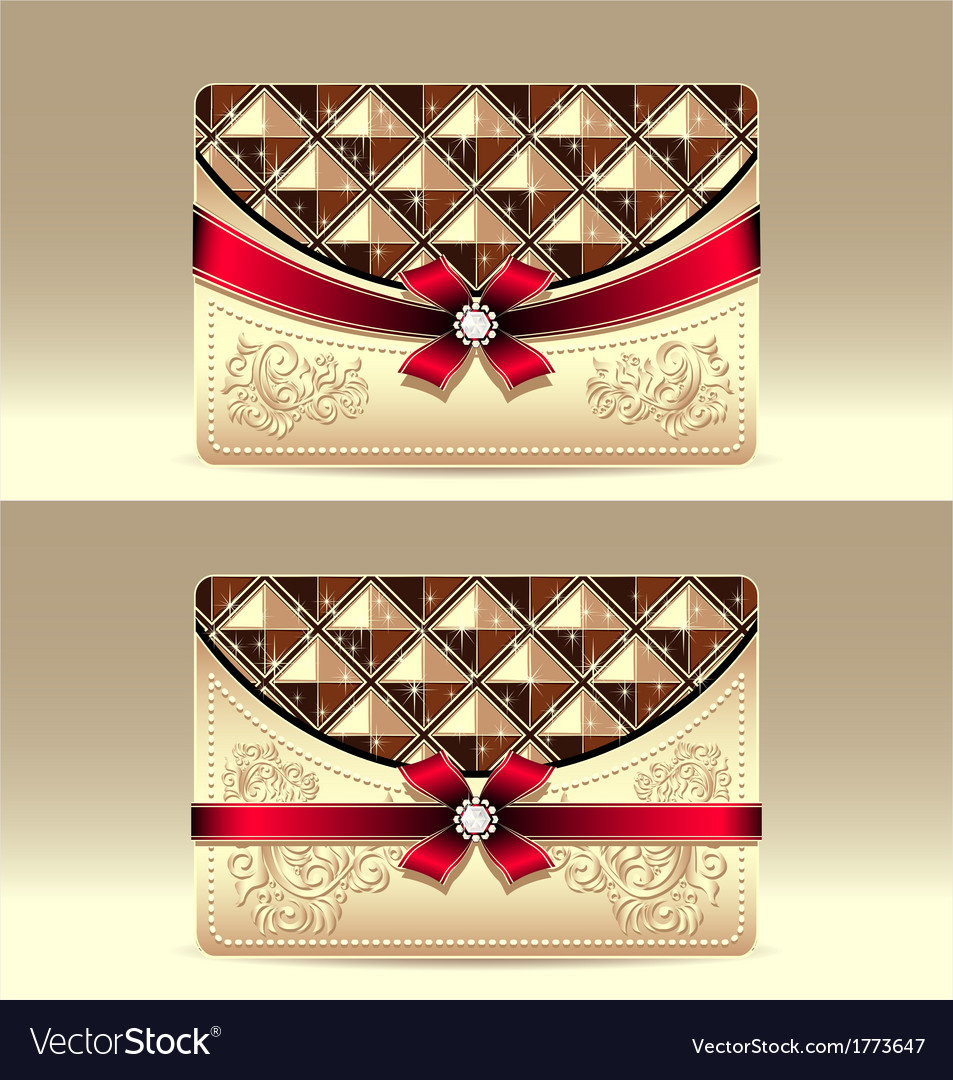 Gift cards with geometric pattern red bow ribbon vector | Price: 1 Credit (USD $1)