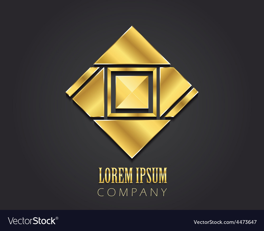 Golden symbol with square for your company vector | Price: 1 Credit (USD $1)