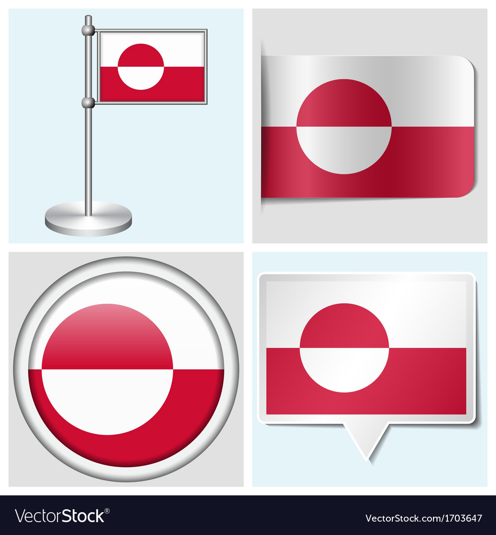 Greenland flag - sticker button label flagstaff vector | Price: 1 Credit (USD $1)