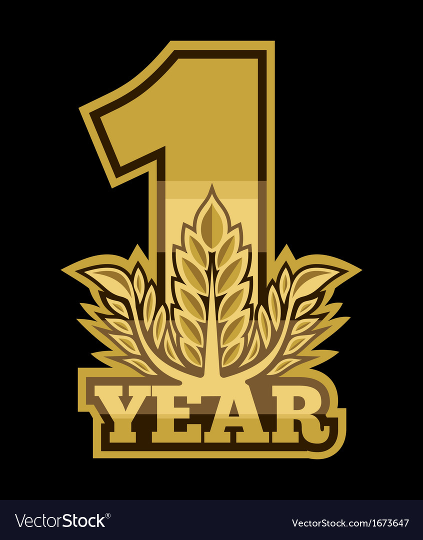 Laurel wreath 1 year vector | Price: 1 Credit (USD $1)