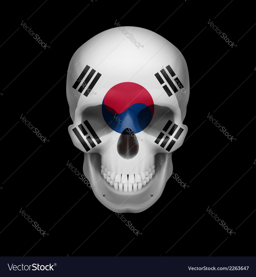 South korean flag skull vector | Price: 1 Credit (USD $1)
