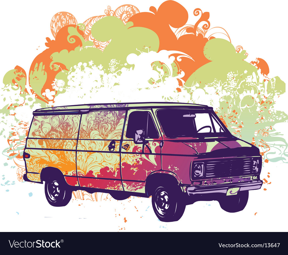 Van retro illustration vector | Price: 3 Credit (USD $3)