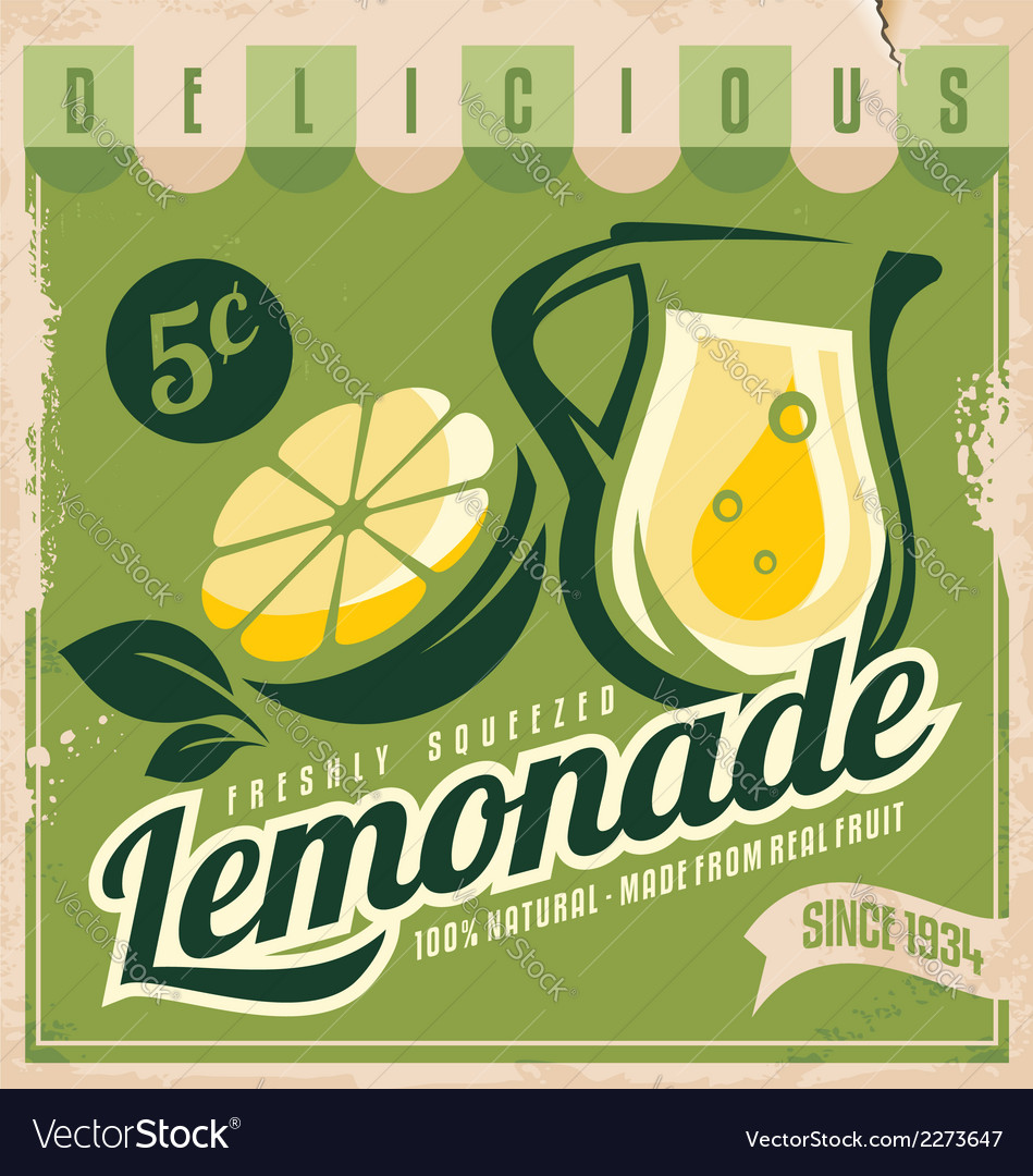 Vintage poster template for lemonade vector | Price: 1 Credit (USD $1)