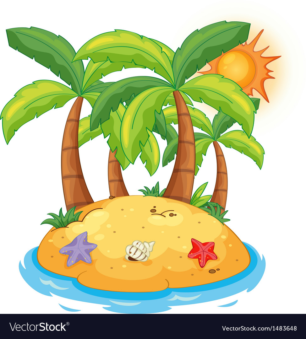 An island with coconut trees vector | Price: 1 Credit (USD $1)