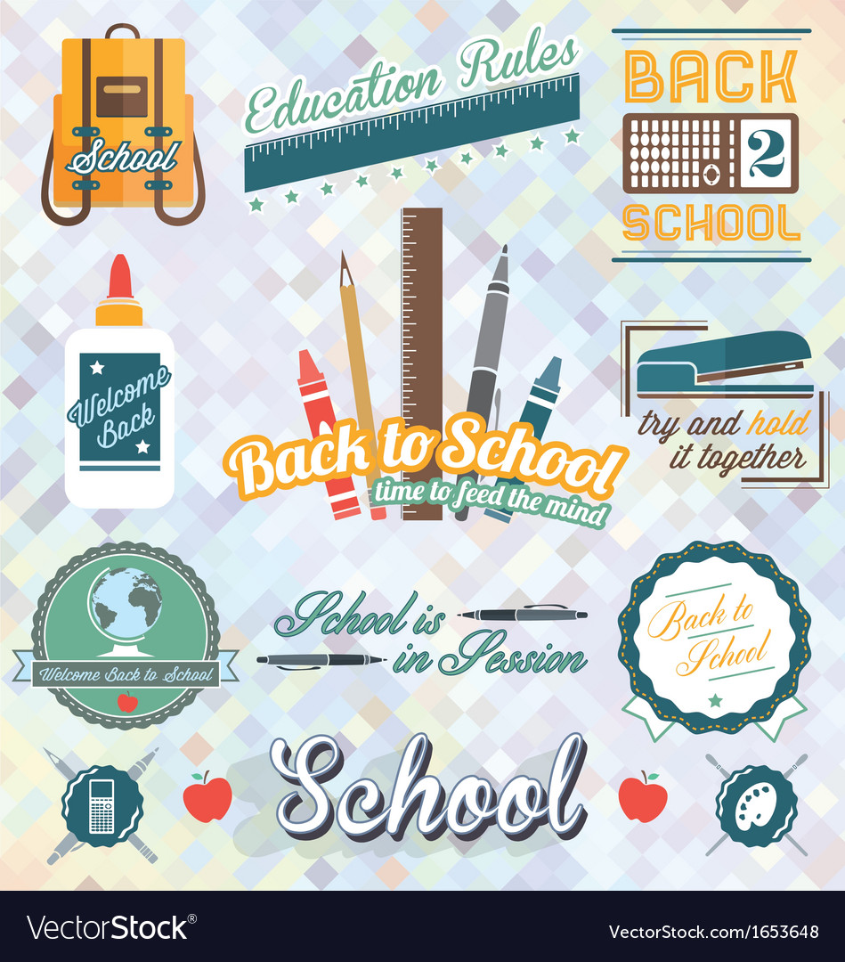 Back to school labels and icons vector | Price: 3 Credit (USD $3)