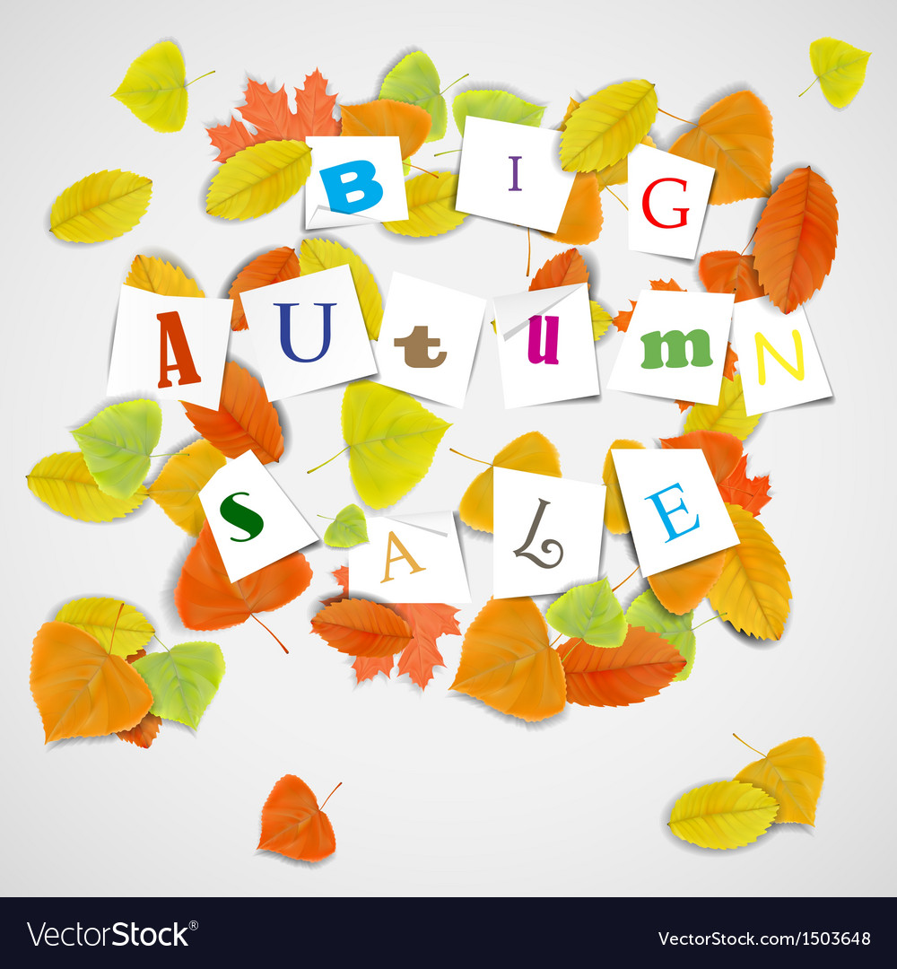 Big autumn sale with colorful leaves vector | Price: 1 Credit (USD $1)