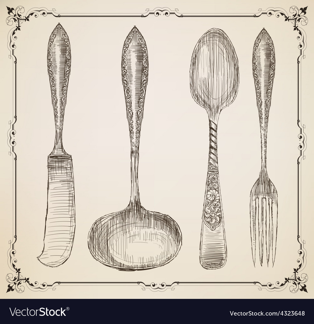 Cutlery doodle style vector | Price: 1 Credit (USD $1)