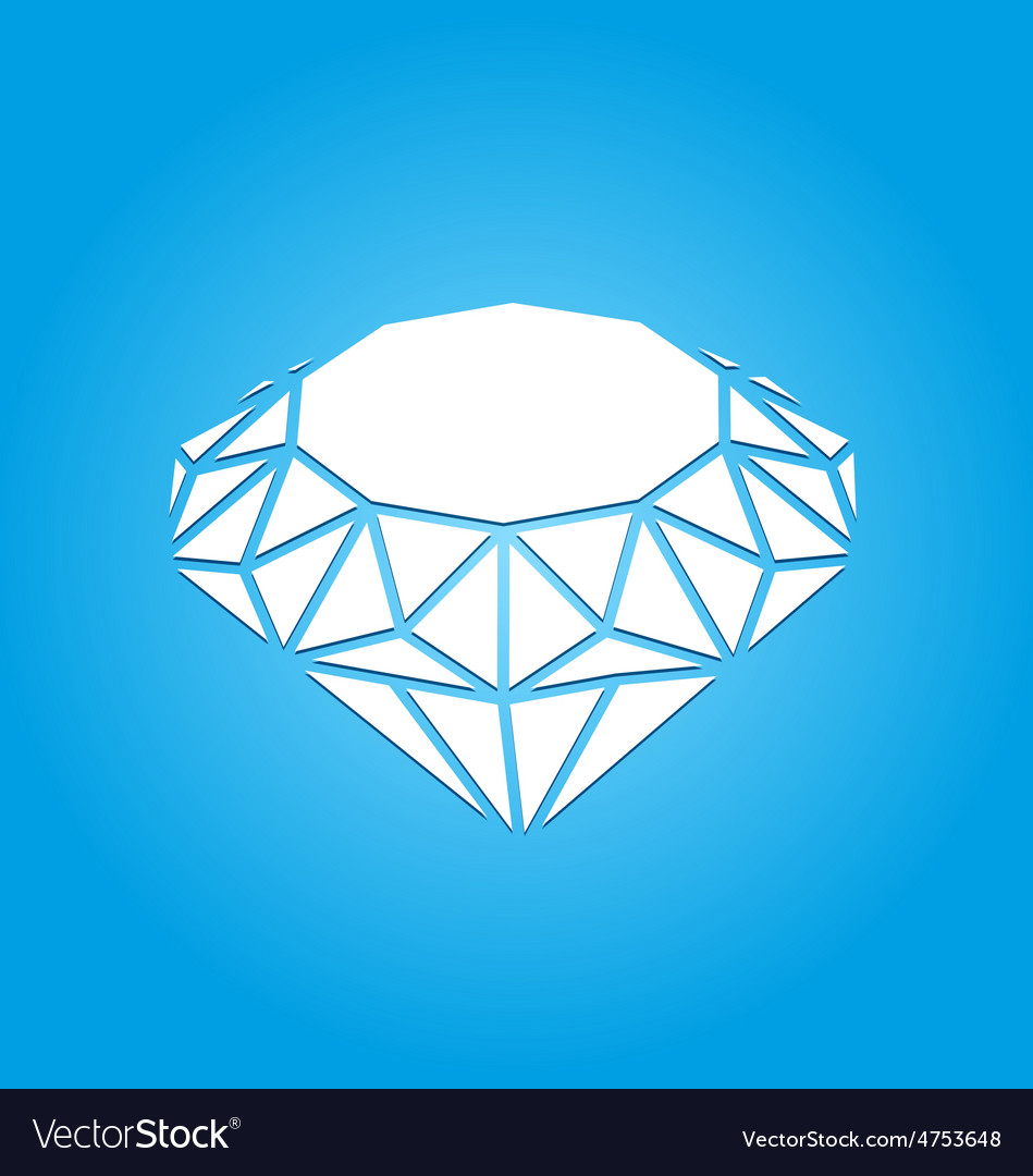 Flat icon of diamond on blue background vector   Price: 1 Credit (USD $1)
