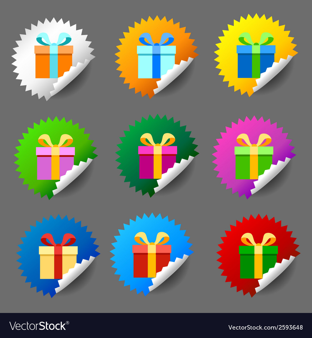 Gift box round label set vector | Price: 1 Credit (USD $1)