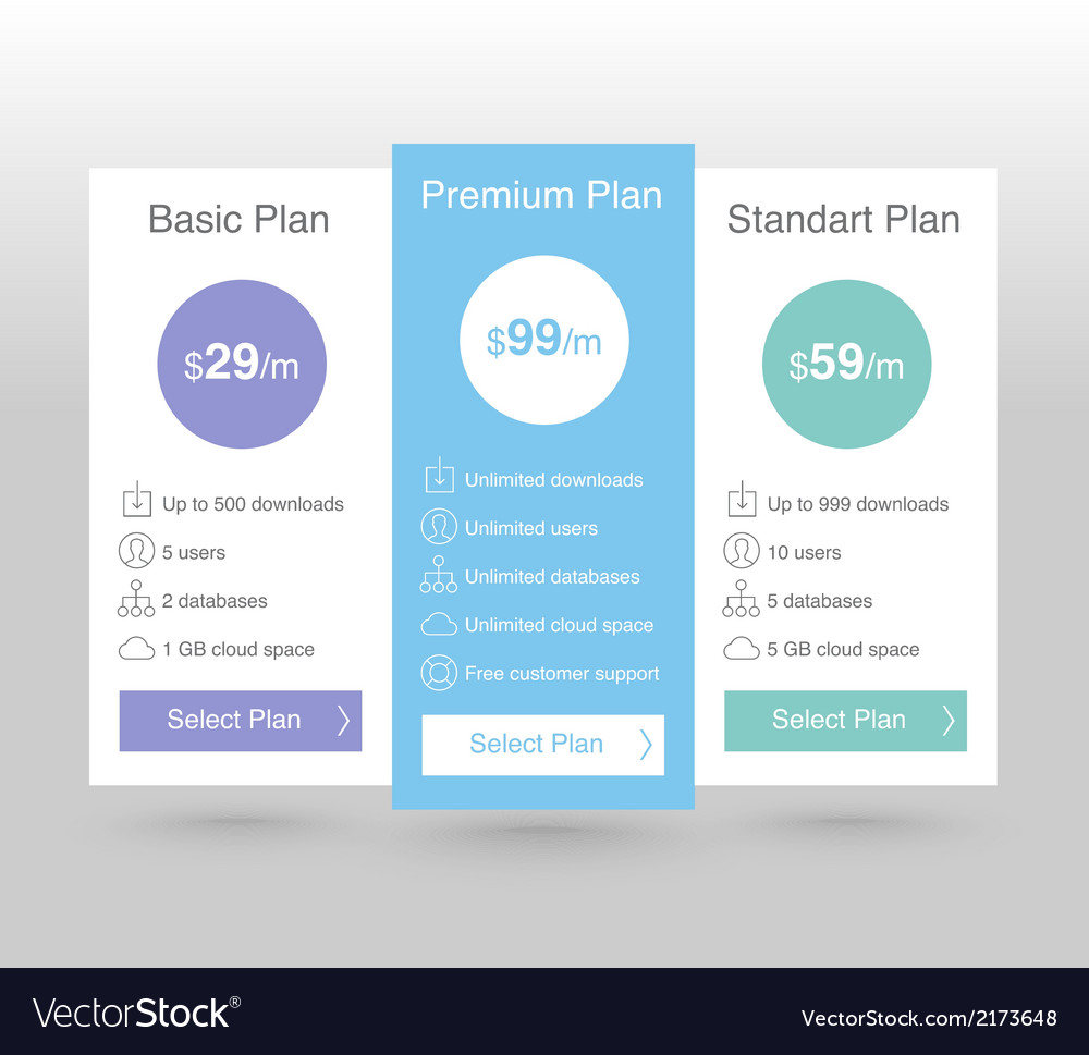 Pricing tables vector   Price: 1 Credit (USD $1)
