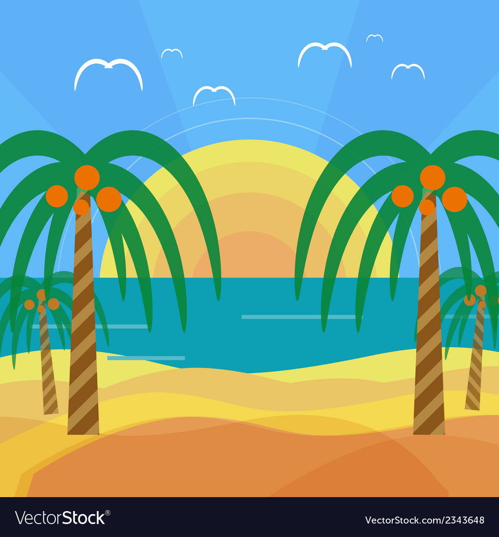 Tropical beach with palm trees vector | Price: 1 Credit (USD $1)