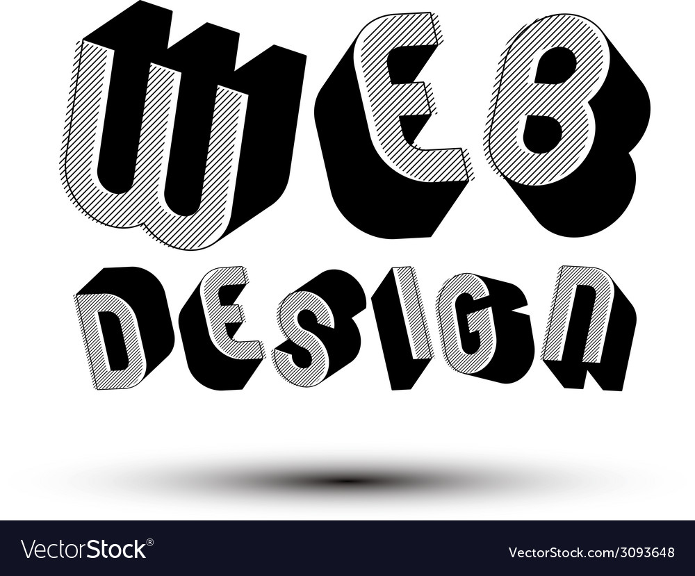 Web design advertising phrase made with 3d retro vector | Price: 1 Credit (USD $1)