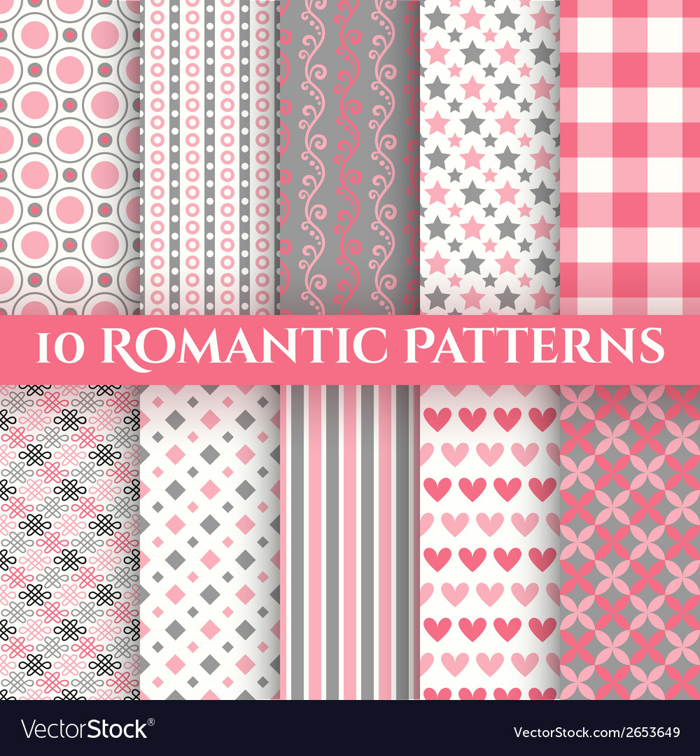 10 romantic seamless patterns tiling vector | Price: 1 Credit (USD $1)