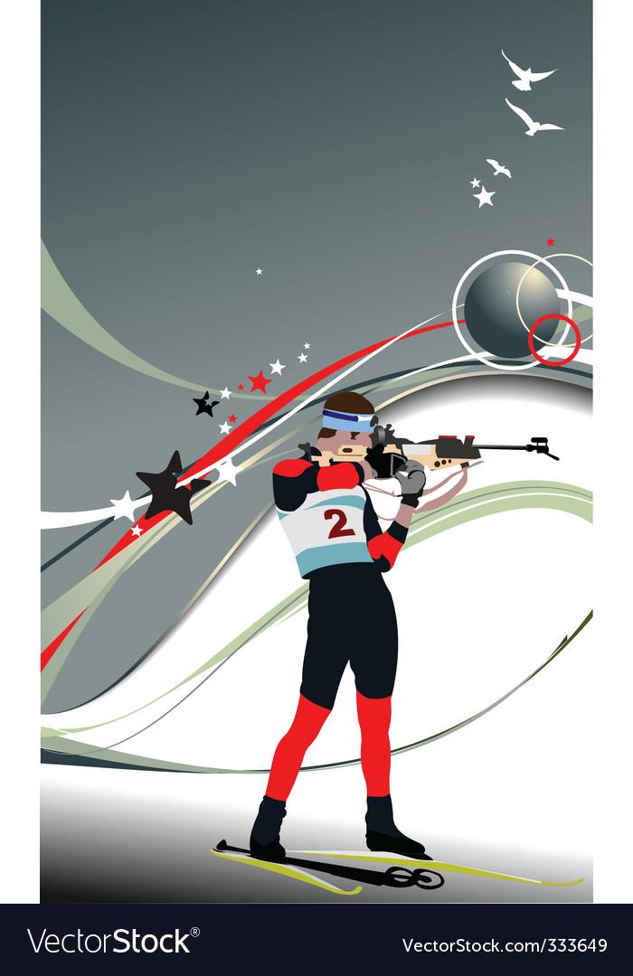 Biathlon skier poster vector | Price: 1 Credit (USD $1)