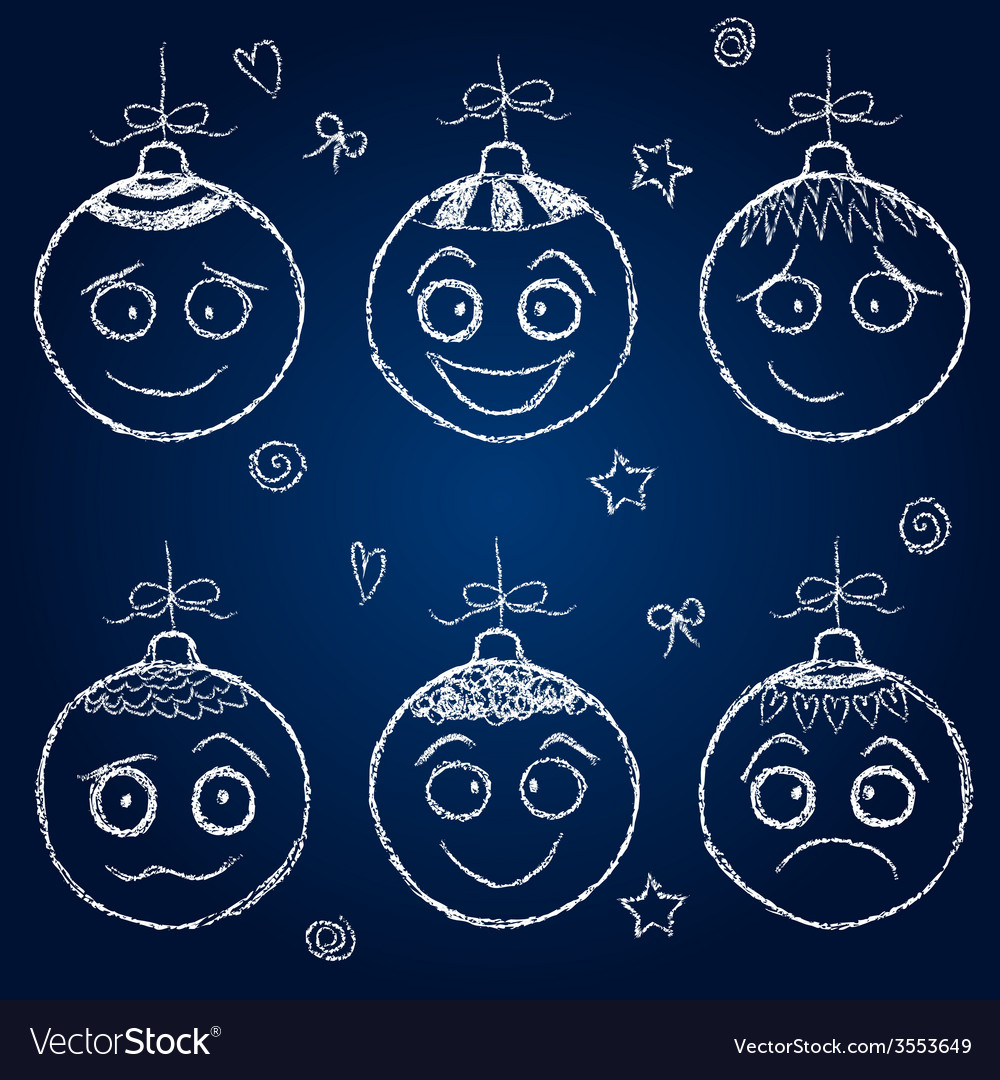 Christmas decorations - chalk balls faces vector | Price: 1 Credit (USD $1)