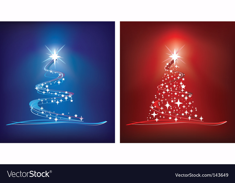 Christmas trees red and blue vector | Price: 1 Credit (USD $1)