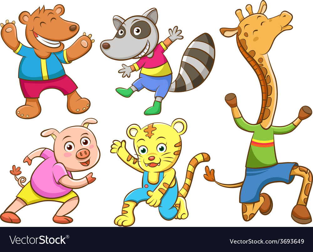 Cute cartoon happy animal set vector | Price: 1 Credit (USD $1)
