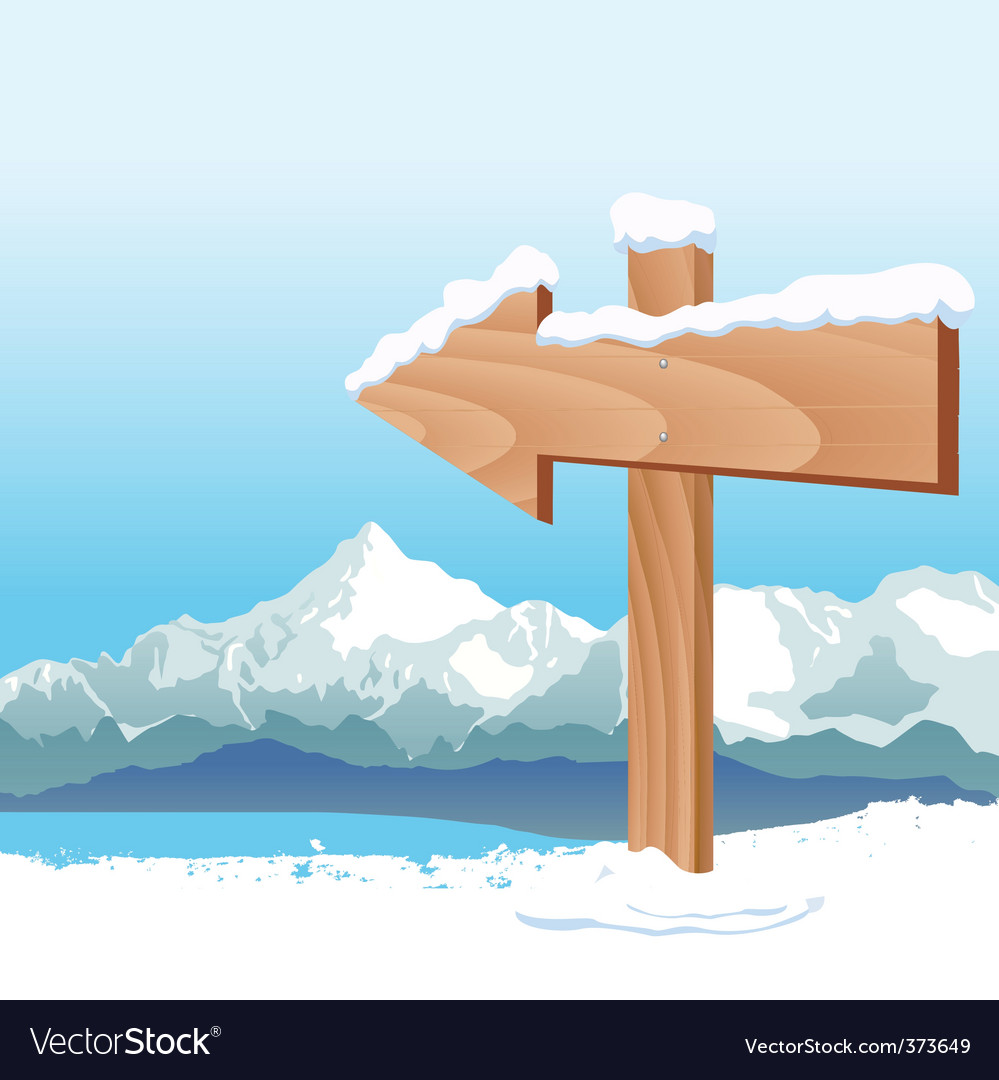 Direction sign with winter vector | Price: 1 Credit (USD $1)
