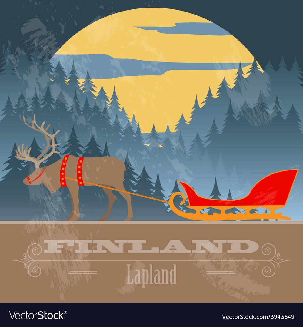Finland landmarks retro styled image vector | Price: 1 Credit (USD $1)