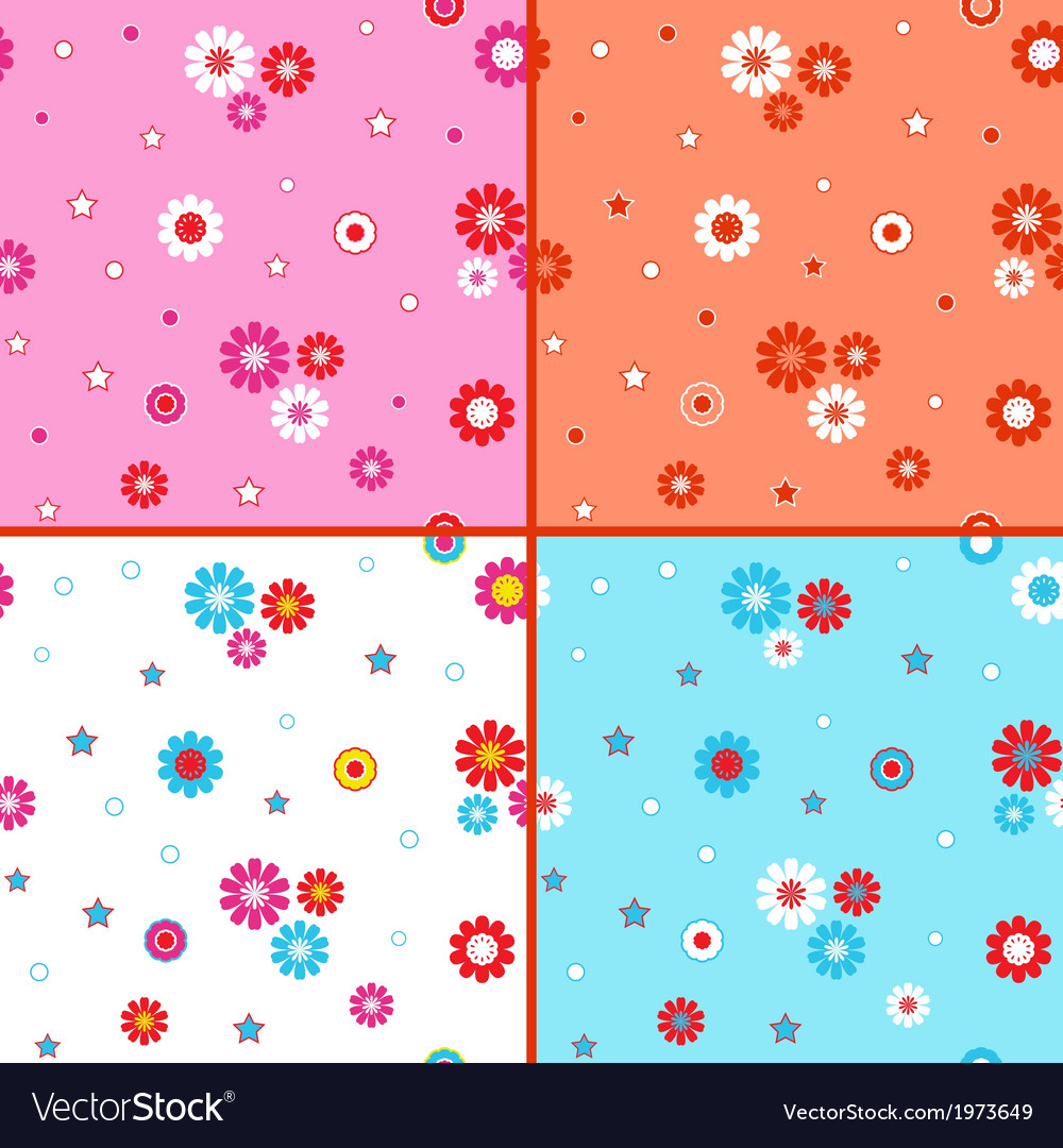 Four seamless patterns with daisies vector | Price: 1 Credit (USD $1)