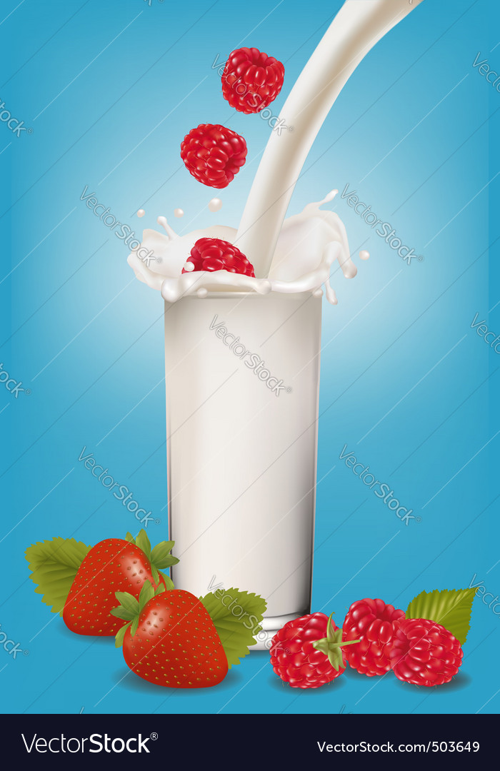 Glass of milk and fruit vector | Price: 3 Credit (USD $3)
