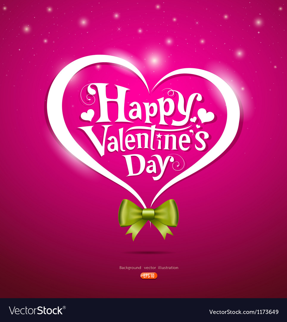 Happy valentine day lettering and green ribbons vector | Price: 1 Credit (USD $1)