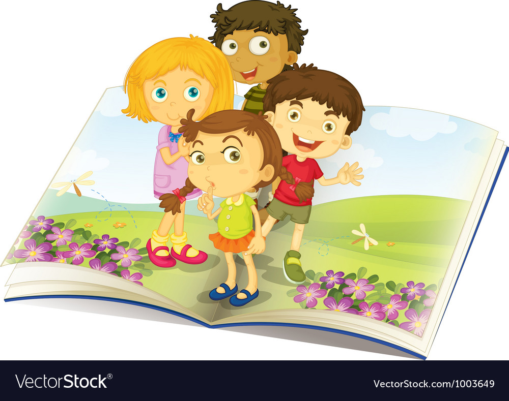 Kids on a book vector | Price: 3 Credit (USD $3)