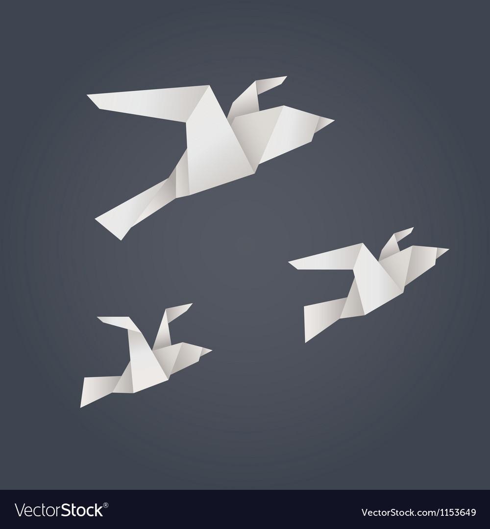 Paper origami birds vector | Price: 1 Credit (USD $1)