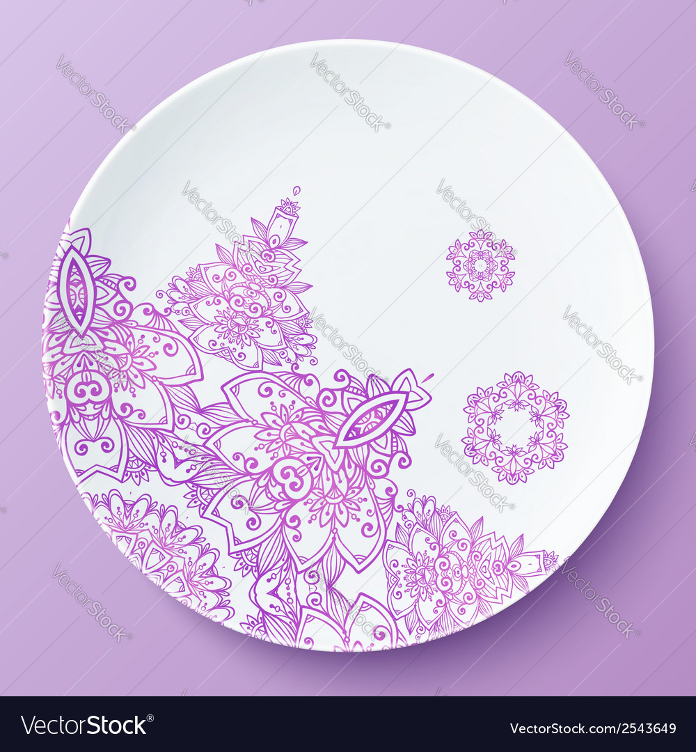 Plate with pink ornate pattern vector | Price: 1 Credit (USD $1)