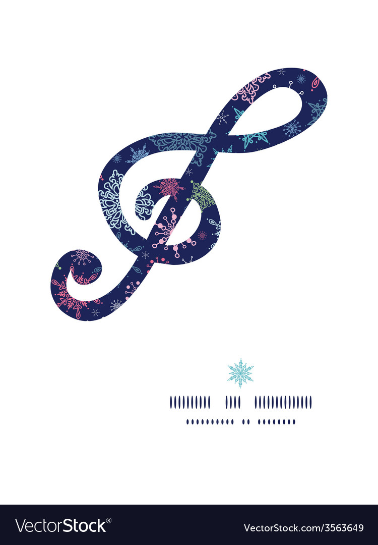 Snowflakes on night sky g clef musical silhouette vector | Price: 1 Credit (USD $1)