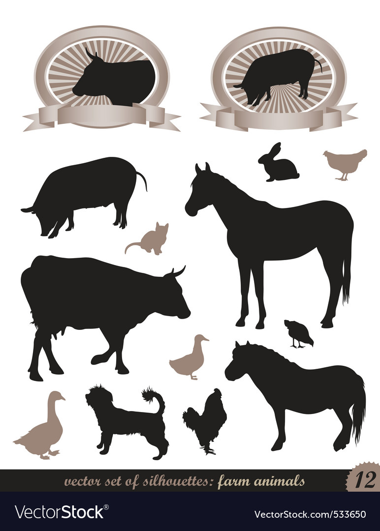 12 silhouettes of animals vector | Price: 1 Credit (USD $1)