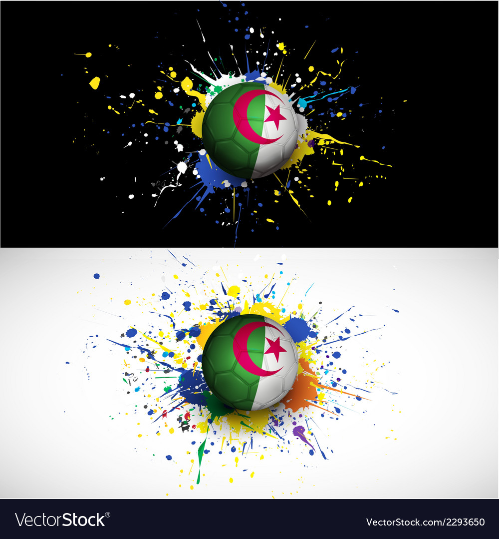 Algeria flag with soccer ball dash on colorful vector | Price: 1 Credit (USD $1)