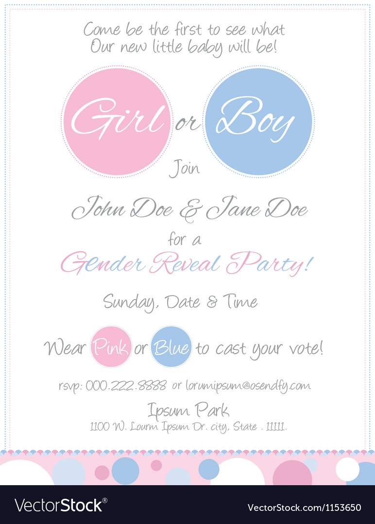 Baby reveal postcard invitation vector | Price: 1 Credit (USD $1)
