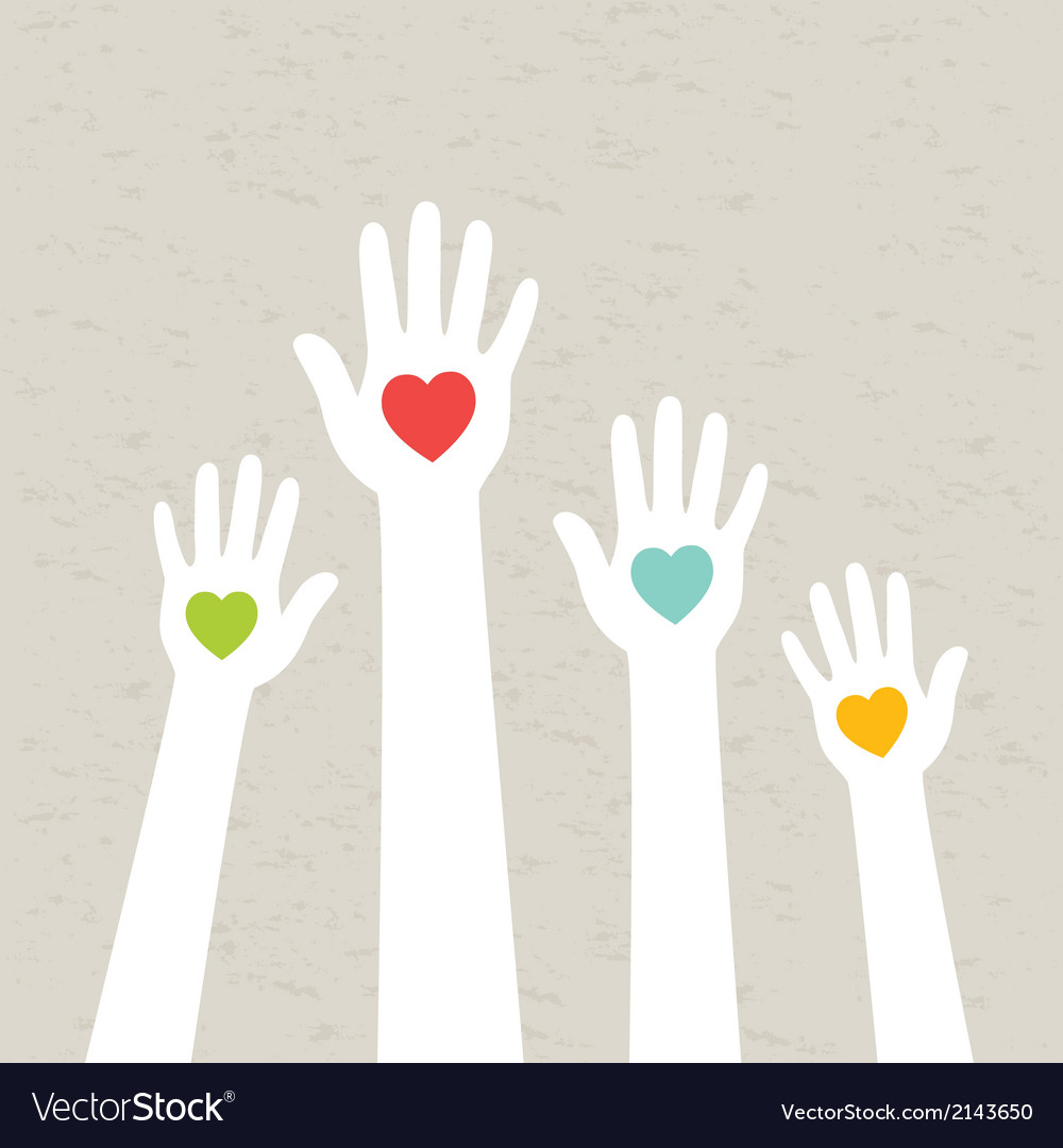 Hands with hearts vector | Price: 1 Credit (USD $1)