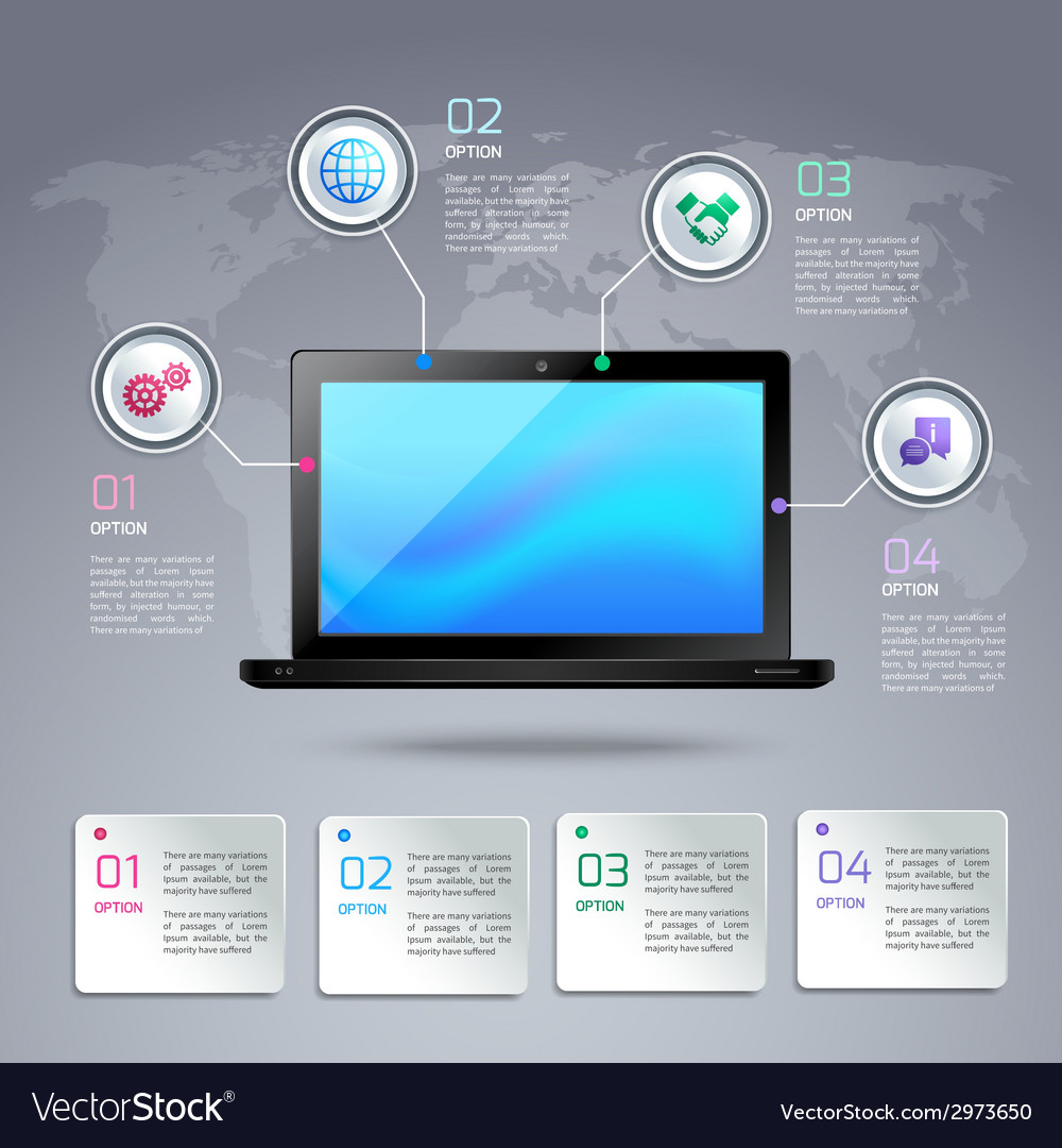 Laptop infographic template vector | Price: 1 Credit (USD $1)