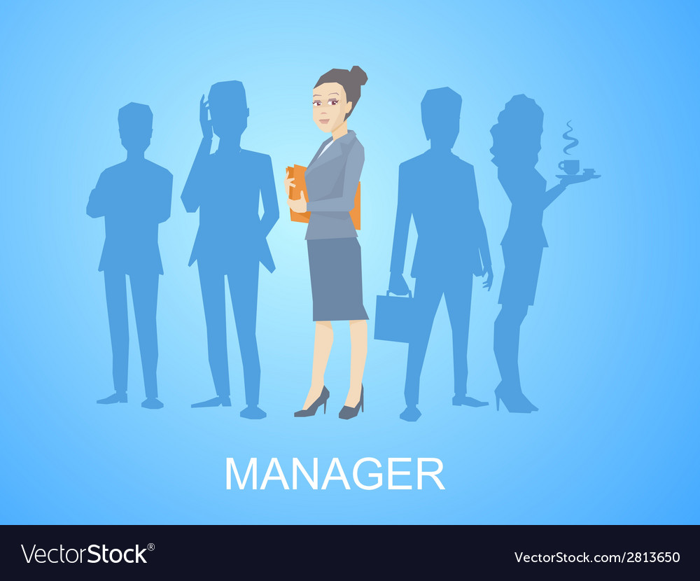 Portrait of a woman manager keeps a folder w vector | Price: 1 Credit (USD $1)