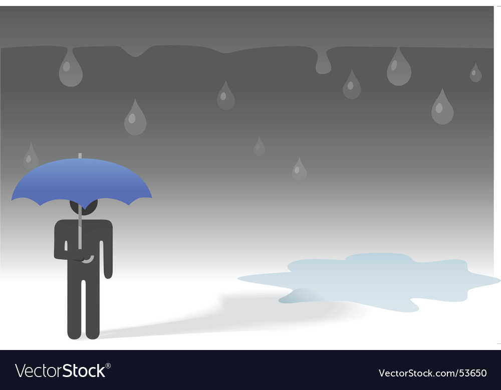 Weather umbrella rain drops puddle vector | Price: 1 Credit (USD $1)