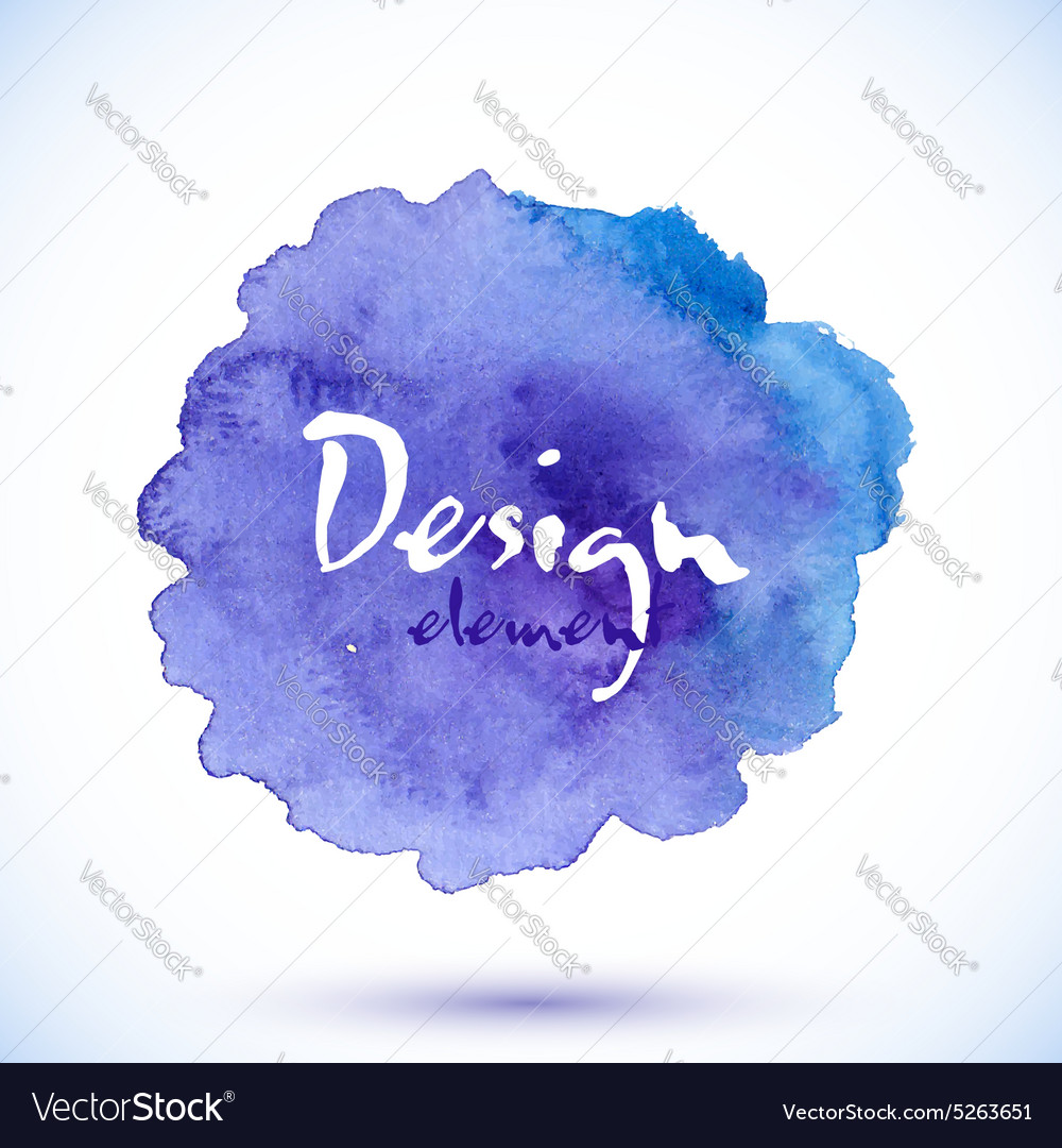 Blue watercolor painted isolated stain vector